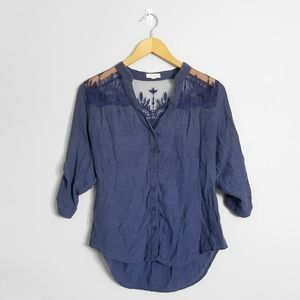 MINE Anthropologie Blue Lace Button Up Blouse